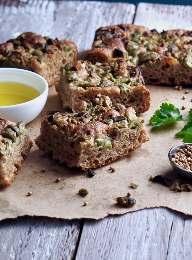 green olive focaccia slices