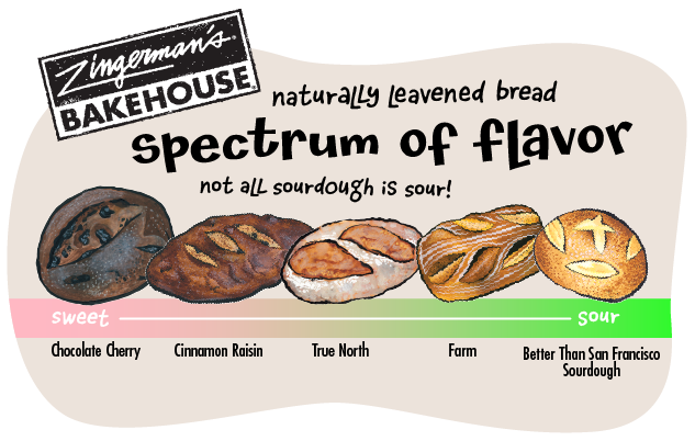 A spectrum of sourness in our naturally leavened breads, from Chocolate Cherry to Better Than San Francisco Sourdough
