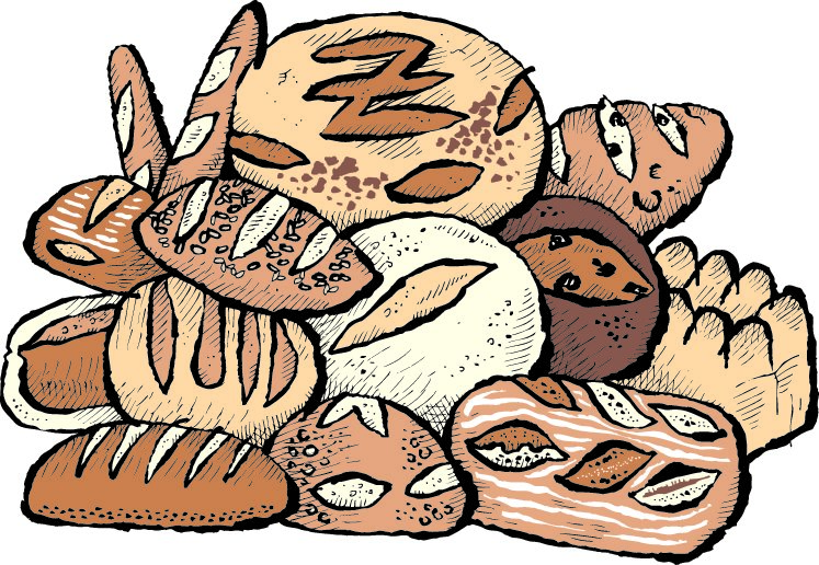 cartoon pile of bread