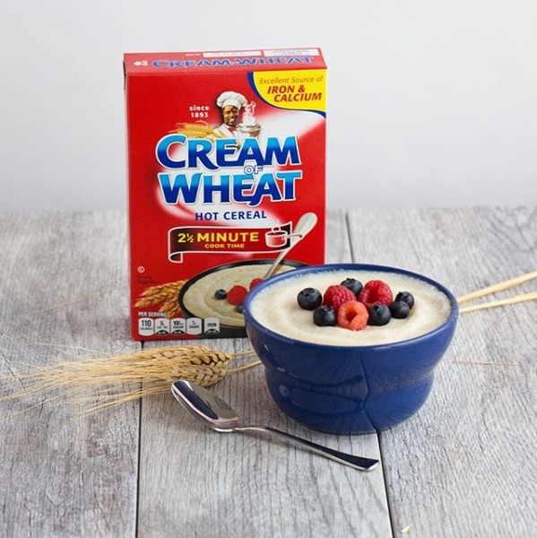 cream of wheat red box with bowl of the porridge