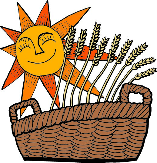 cartoon with grains and sun