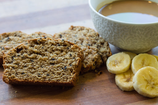 tahini banana bread with tahini bowl