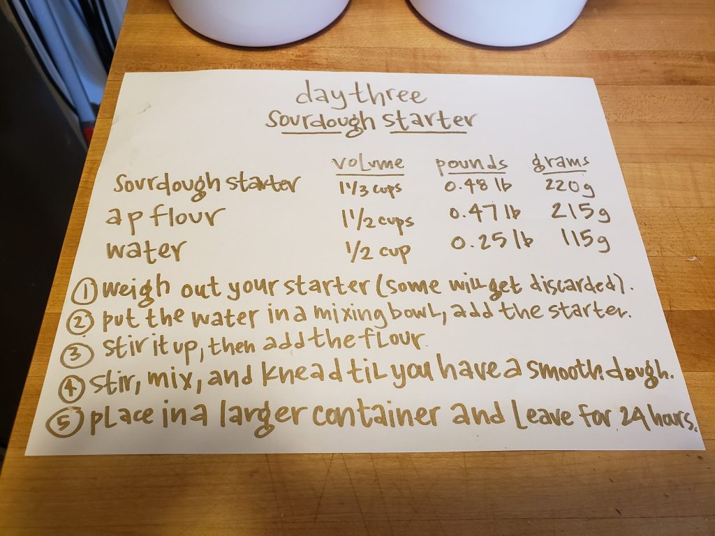 sourdough starter day 3 recipe