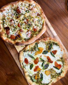 sweet corn pesto pizza