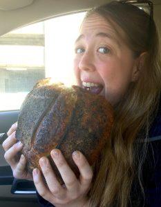 Amanda eating bread