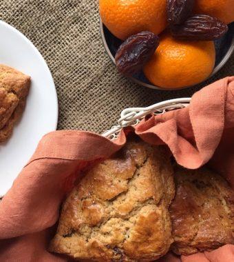 orange and date einkorn scones