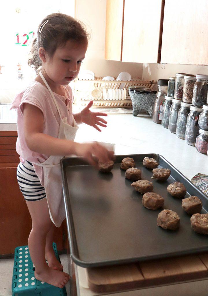 placing cookie dough