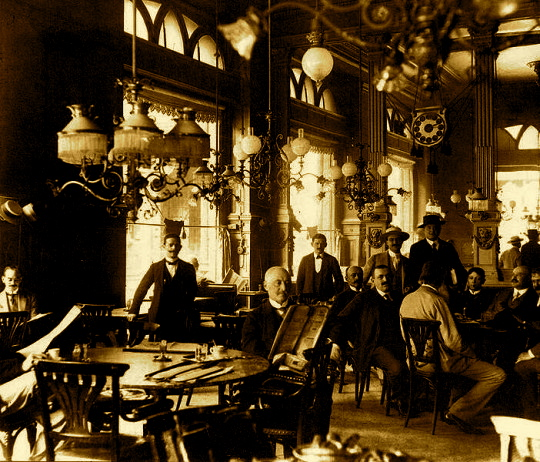 Patrons gathering at the Centrál Kávéház, Budapest, ca. 1910