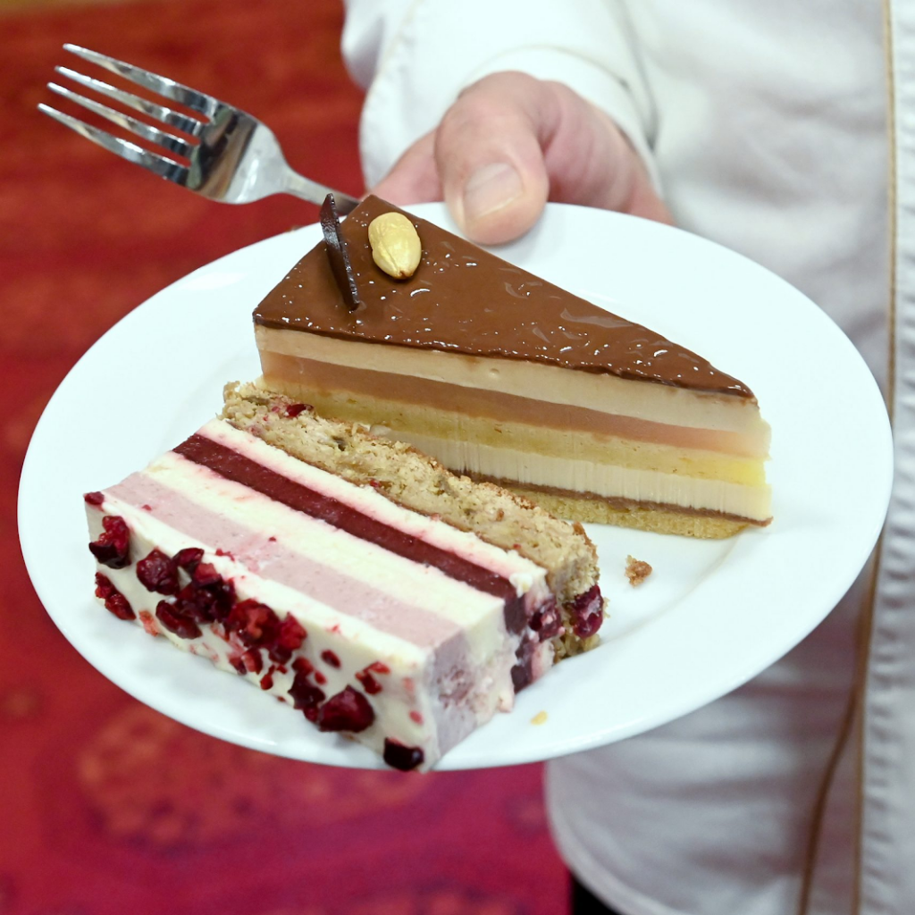a slice of each of hungary's winning cakes from the 2020 contest