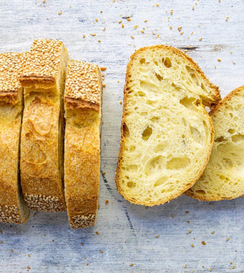 a loaf of sesame semolina bread
