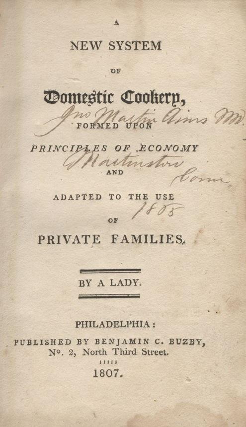 New Domestic Cookery Frontispiece (Philadelphia, 1807)