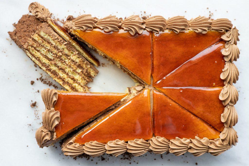 overhead view of a dobos torta