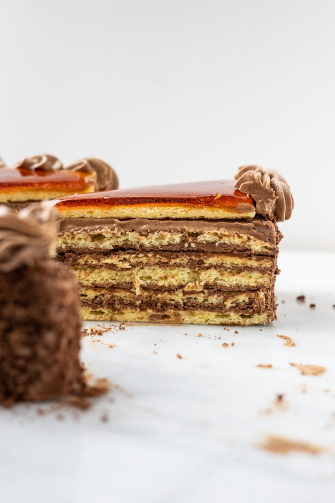 a side view of a slice of dobos torta