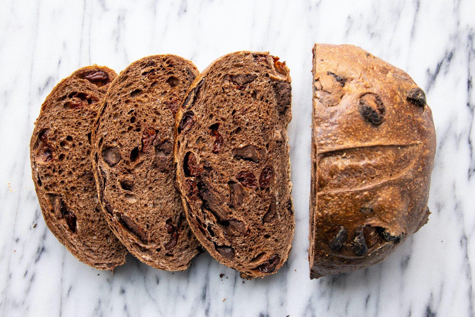 slices of chocolate cherry bread