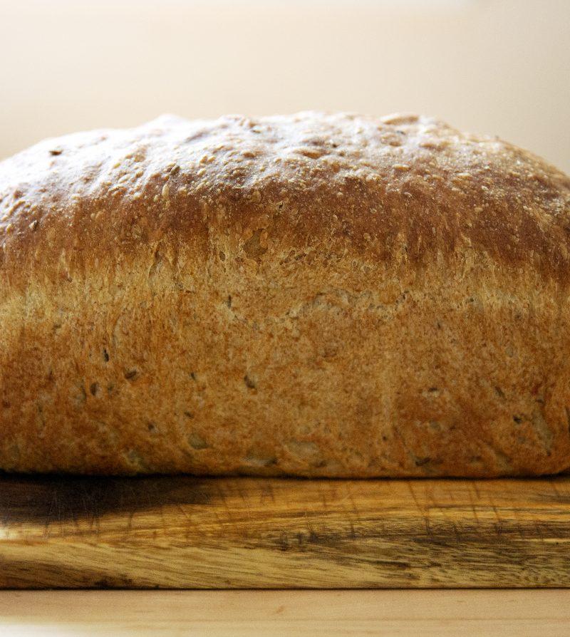 side view of a soft rye sandwich loaf